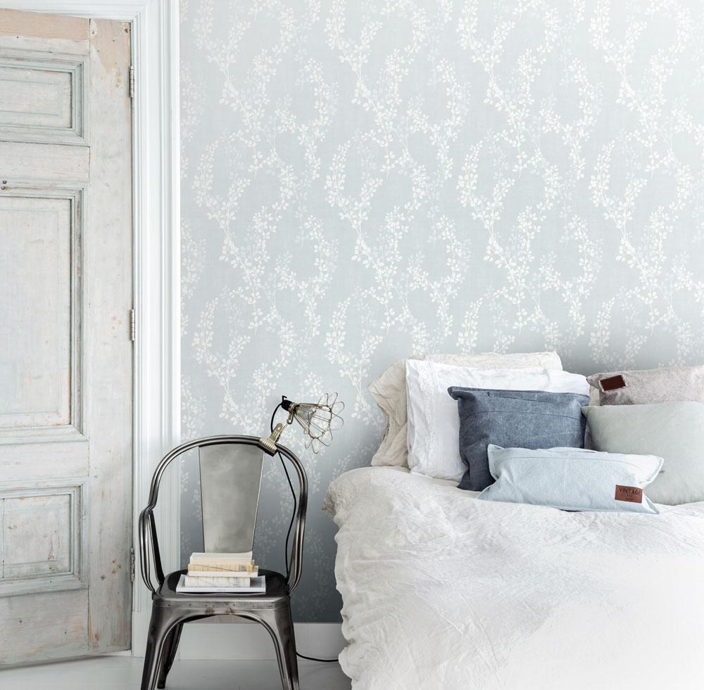 Blå tapeter sovrum midbec botanik