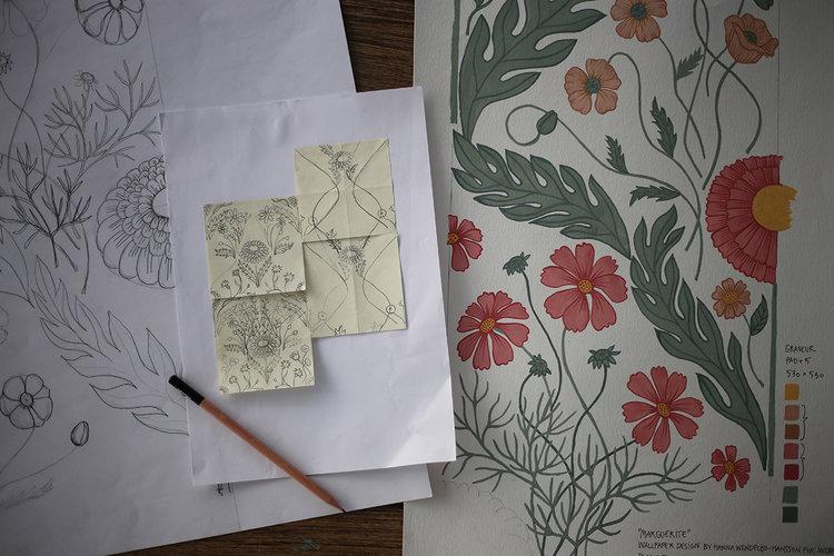 designprocessen-Blomstermåla_HannaWendelbo_Marguerite_Midbec_tapeter