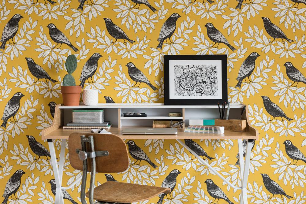 Fåglar-miss-print-tapeter-midbec