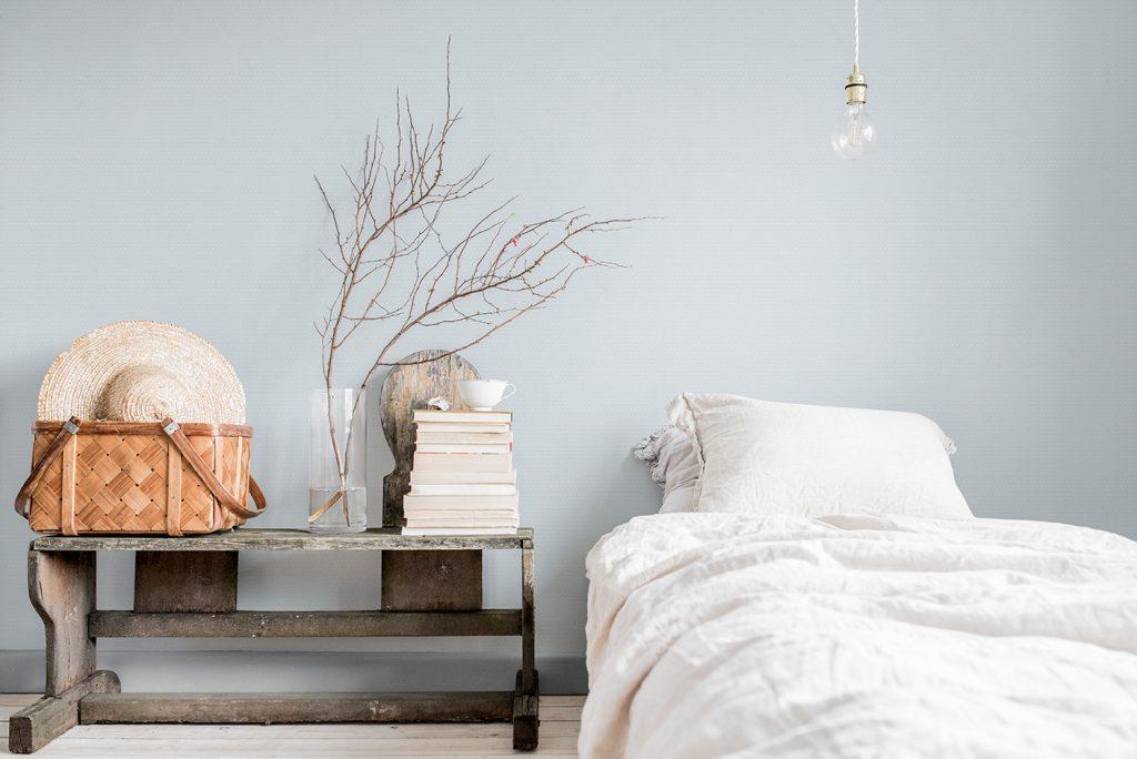 Morgongåva blå tapet sovrum midbec tapeter