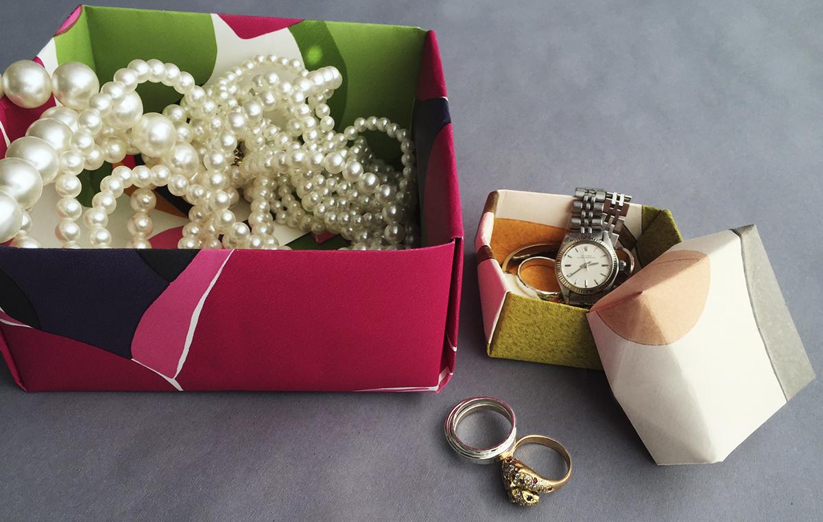 Pysssel midbec wallpaper tapet origami inspiration instruction instruktioner vika papper box ask jewelry smycken smyckesskrin