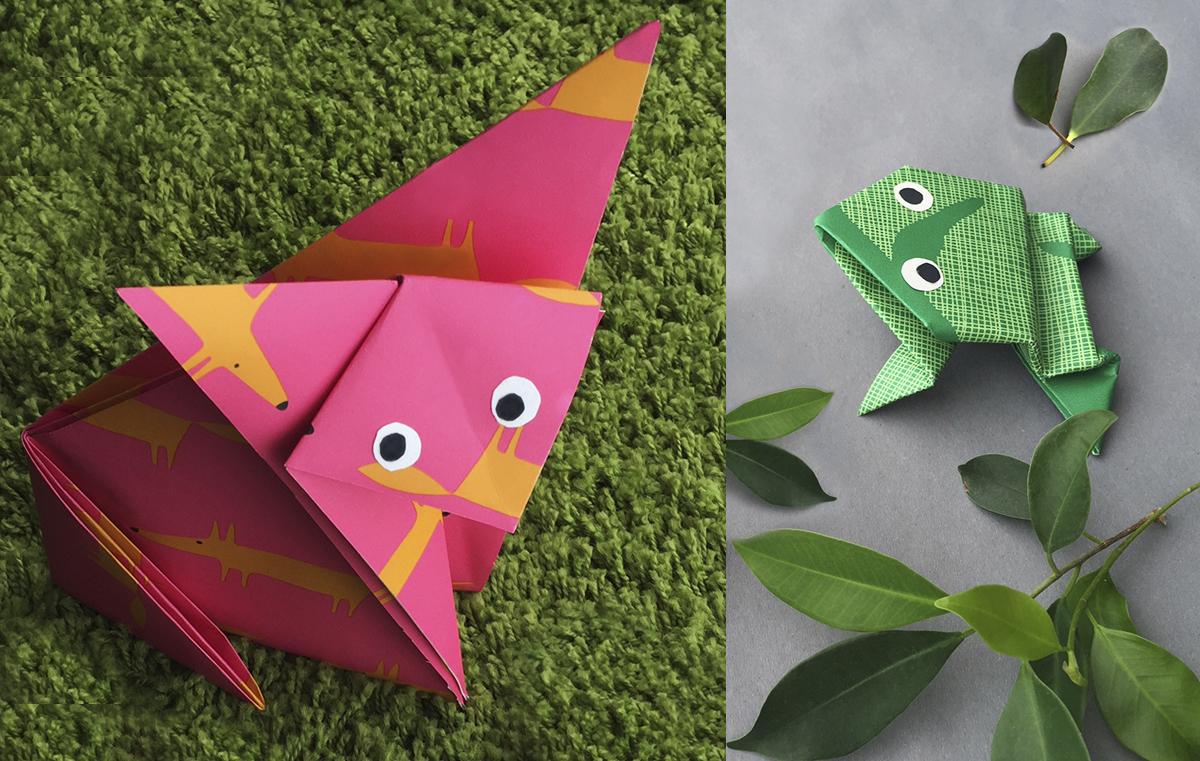 Pysssel midbec wallpaper tapet origami inspiration instruction instruktioner vika papper groda rav fox frog