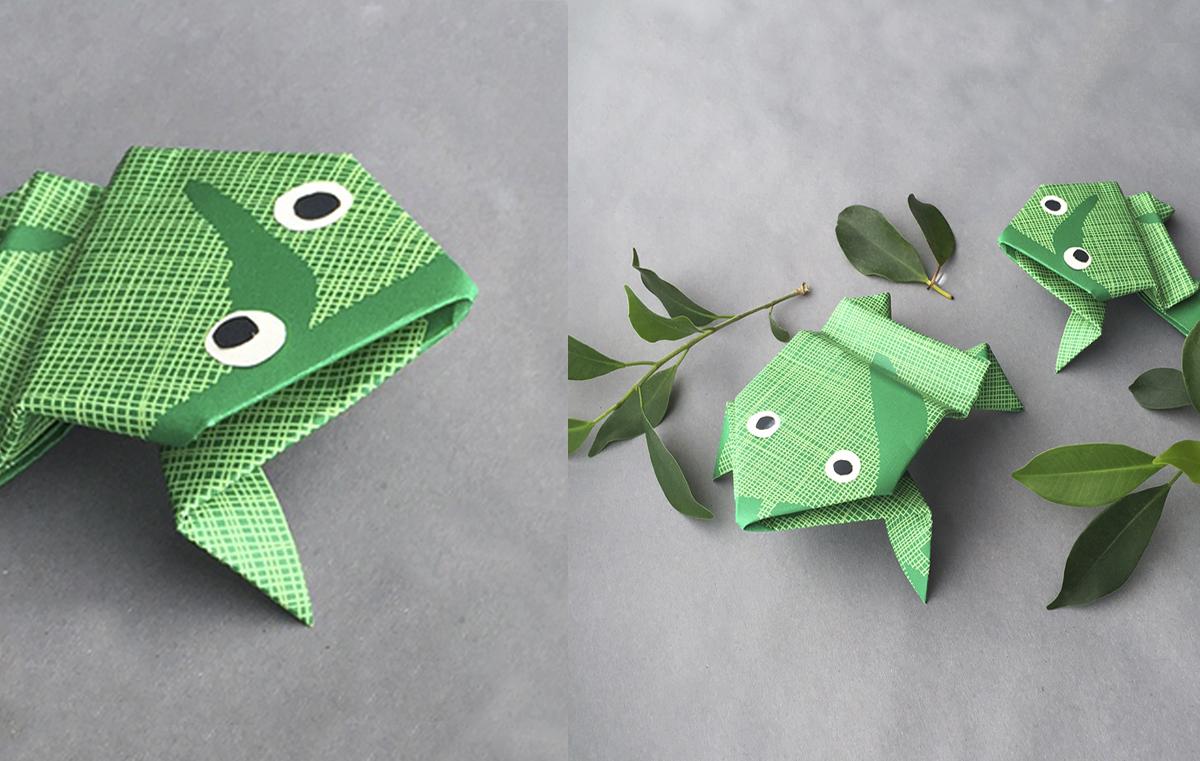 Pysssel midbec wallpaper tapet origami inspiration instruction instruktioner vika papper groda frog leaves