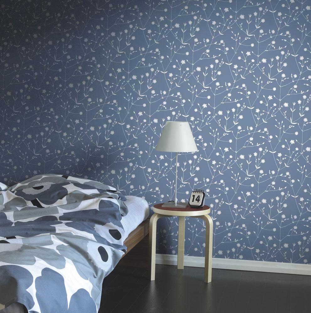 blå tapeter sovrum midbec marimekko