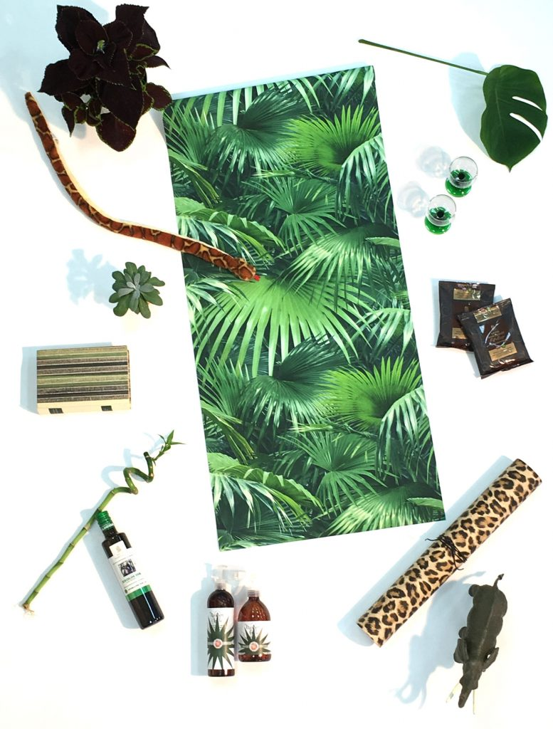 djungel-tapeter-gröna-leopard-elefant-palmblad-kaffe-grönt