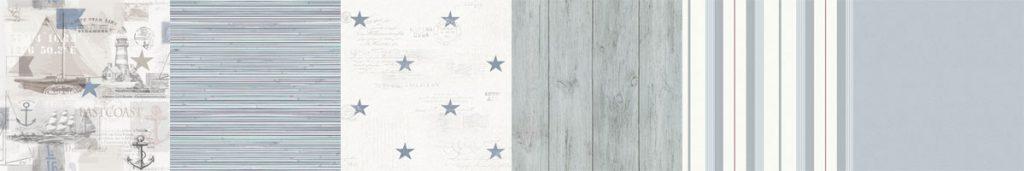 marina-tapeter-blåa-tapeter-havet-stjärnor-på-tapeten-randiga-tapeter