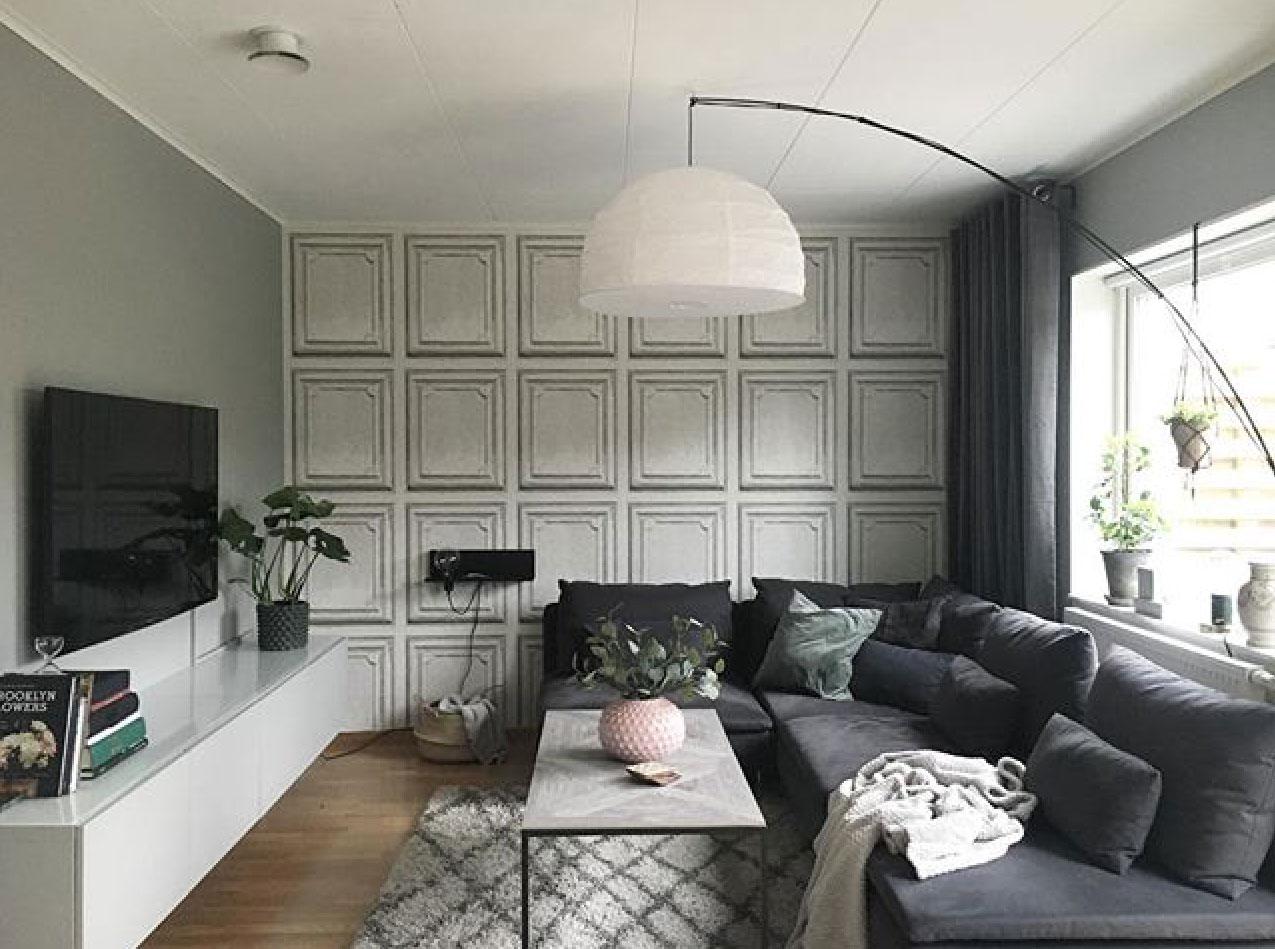 panelväggar vardagsrum träpanel midbec tapeter ullstämma interiör