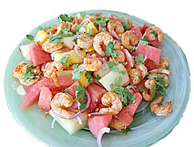 räksallad-räkor-annanas-vattenmelon-recept