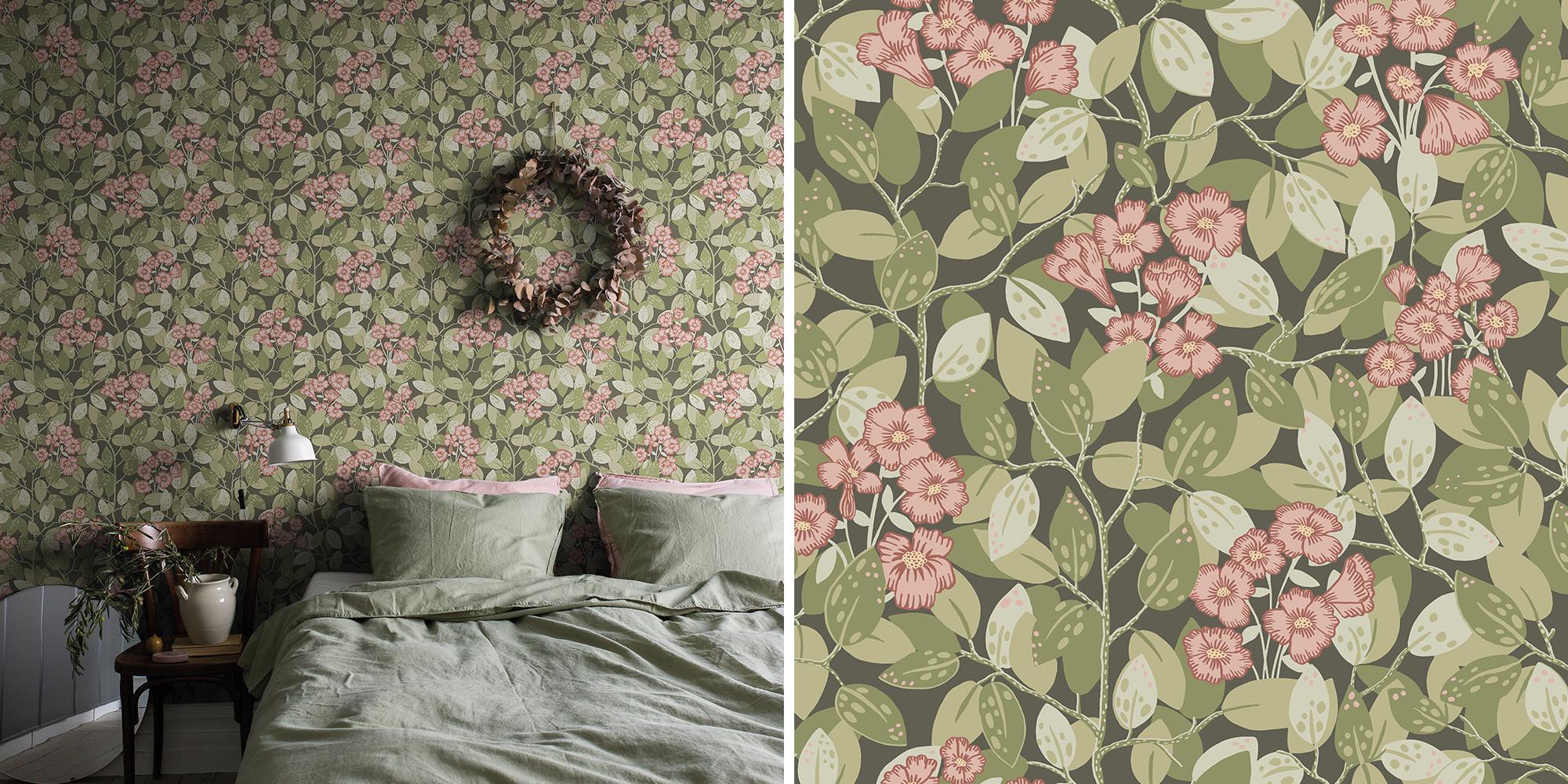 Blomstrande väggar sovrum Lina Midbec